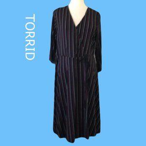 Torrid Faux Wrap Black Stripe Dress Size 16
